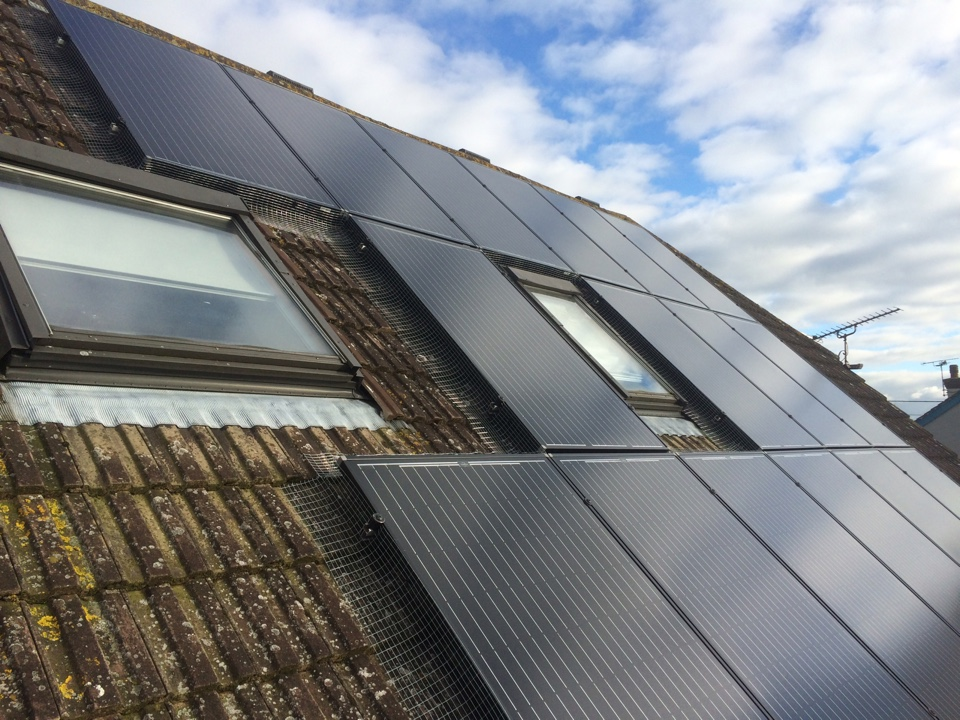Solar panel protection to stop pigeons nesting
